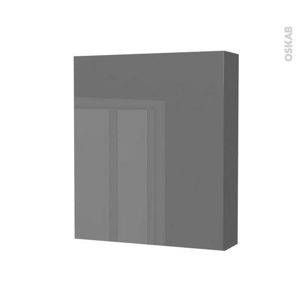 Armoire de toilette - Rangement haut - STECIA Gris - 1 porte - Côtés décors - L60 x H70 x P17 cm