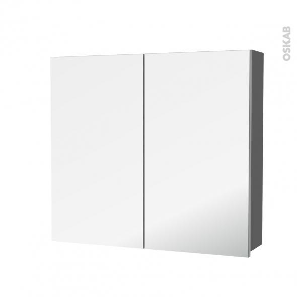 STECIA Gris - Armoire de toilette N°682 - Côté décor - 2 portes miroir - L80xH70xP17