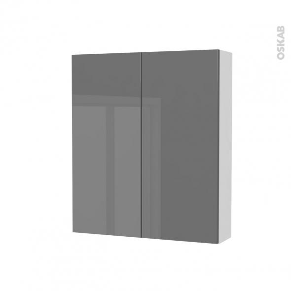 Armoire de toilette - Rangement haut - STECIA Gris - 2 portes - Côtés blancs - L60 x H70 x P17 cm