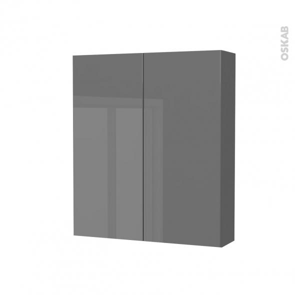 Armoire de toilette - Rangement haut - STECIA Gris - 2 portes - Côtés décors - L60 x H70 x P17 cm