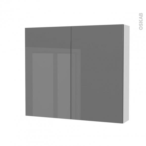 Armoire de toilette - Rangement haut - STECIA Gris - 2 portes - Côtés blancs - L80 x H70 x P17 cm