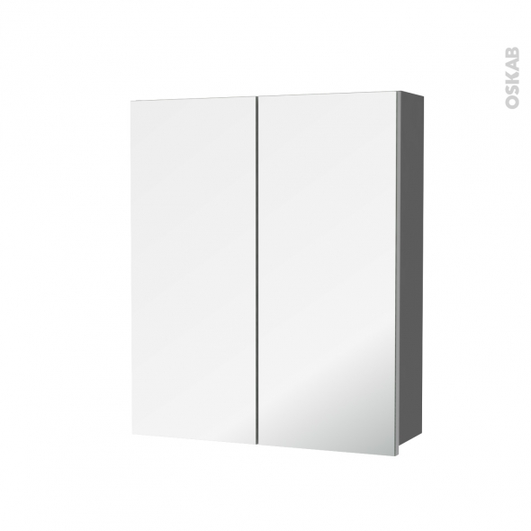 Armoire de toilette - Rangement haut - STECIA Gris - 2 portes miroir - Côtés décors - L60 x H70 x P17 cm