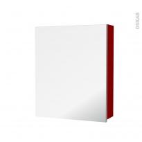 Armoire de toilette - Rangement haut - STECIA Rouge - 1 porte miroir - Côtés décors - L60 x H70 x P17 cm