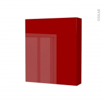 Armoire de toilette - Rangement haut - STECIA Rouge - 1 porte - Côtés décors - L60 x H70 x P17 cm