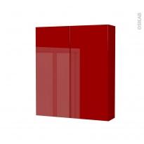 Armoire de toilette - Rangement haut - STECIA Rouge - 2 portes - Côtés décors - L60 x H70 x P17 cm
