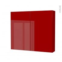 Armoire de toilette - Rangement haut - STECIA Rouge - 2 portes - Côtés décors - L80 x H70 x P17 cm