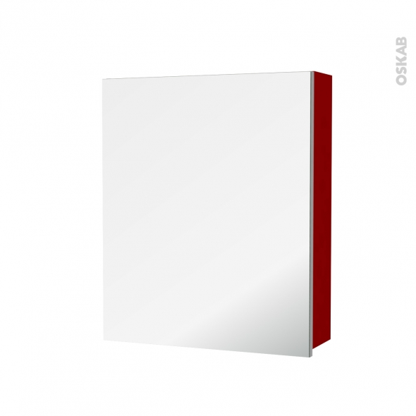 STECIA Rouge - Armoire de toilette N°1152 - Côté décor - 1 porte miroir - L60xH70xP17