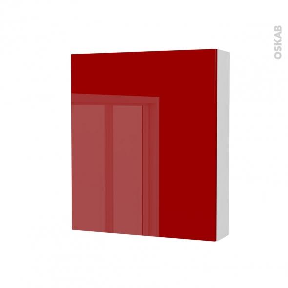 Armoire de toilette - Rangement haut - STECIA Rouge - 1 porte - Côtés blancs - L60 x H70 x P17 cm