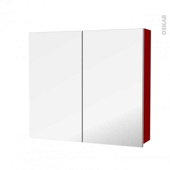 STECIA Rouge - Armoire de toilette N°682 - Côté décor - 2 portes miroir - L80xH70xP17