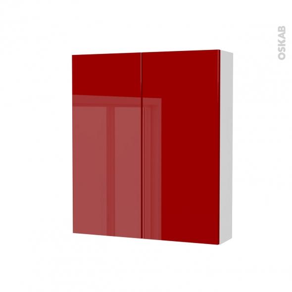Armoire de toilette rangement haut stecia rouge 2 portes for Armoire de toilette pour salle de bain