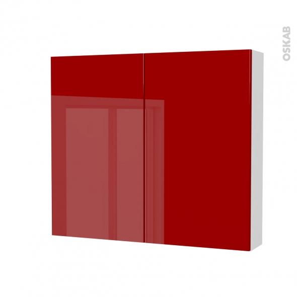 Armoire de toilette - Rangement haut - STECIA Rouge - 2 portes - Côtés blancs - L80 x H70 x P17 cm