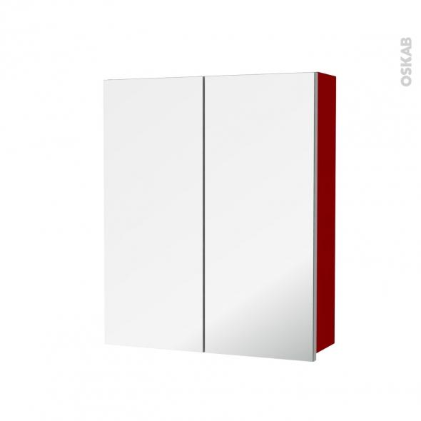 STECIA Rouge - Armoire de toilette N°742 - Côté décor - 2 portes miroir - L60xH70xP17