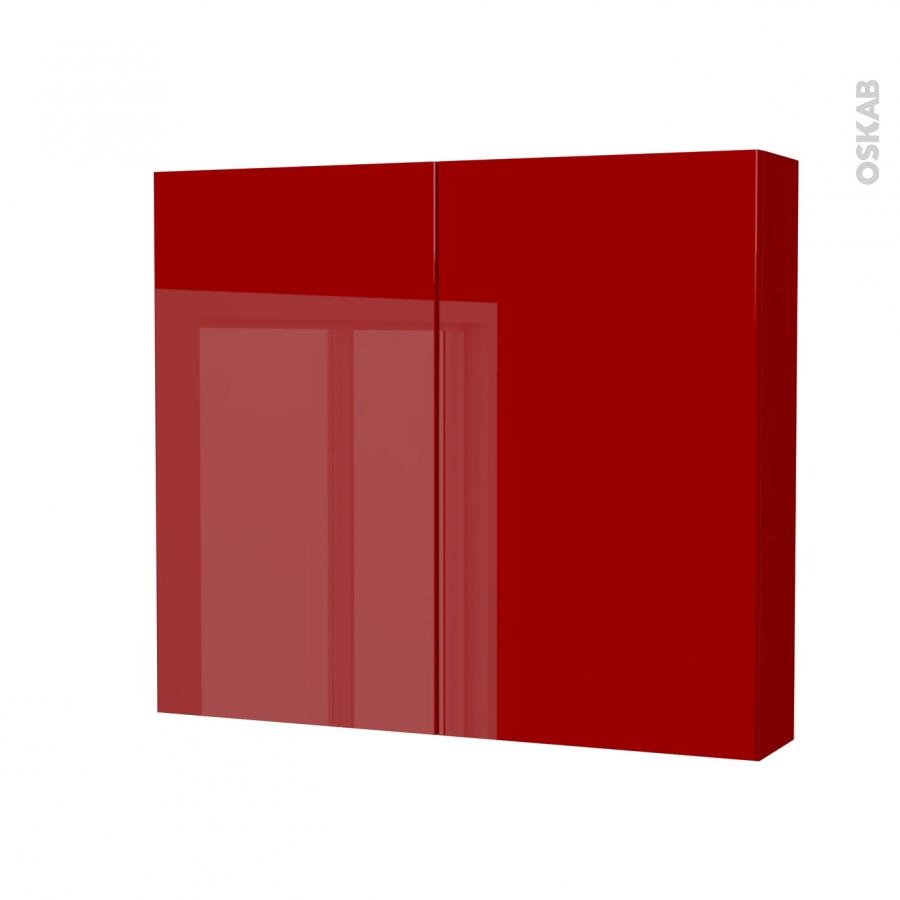 Armoire De Toilette Rangement Haut Stecia Rouge 2 Portes