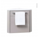Meuble lave-mains d'angle - FUJI Taupe - L44 x P40 x H55,4 cm