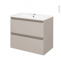 TEIDE Taupe - Ensemble meuble salle de bains - Meuble et plan vasque céramique - L61xP46,5xH56,8