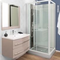 Ensemble salle de bains - Meuble MOOREA Taupe - Plan vasque résine - Miroir - L80,5 x P52 x H53,5 cm