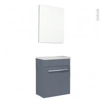 FUJI Bleu gris - Meuble lave-mains avec miroir L44xP26xH55,4