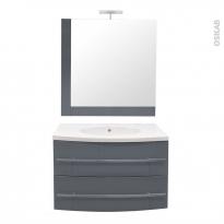 MOOREA Bleu gris - Ensemble salle de bains - Meuble, plan vasque résine, miroir et éclairage - L80,5 x P52 x H53,5 cm