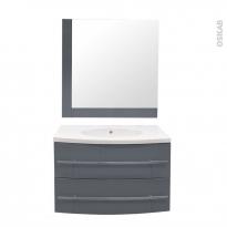 MOOREA Bleu gris - Ensemble salle de bains - Meuble, plan vasque résine et miroir - L80,5 x P52 x H53,5 cm
