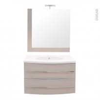 MOOREA Taupe - Ensemble meuble salle de bains - Meuble, plan vasque résine, miroir et éclairage - L80,5XP52XH53,5