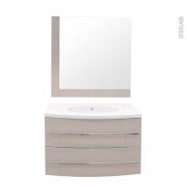 MOOREA Taupe - Ensemble meuble salle de bains - Meuble, plan vasque résine et miroir - L80,5XP52XH53,5