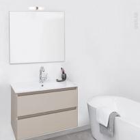 TEIDE Taupe - Ensemble salle de bains - Meuble, plan vasque céramique, miroir et éclairage - L61 x P46,5 x H56,8 cm