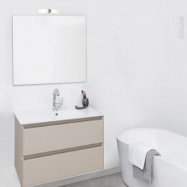 TEIDE Taupe - Ensemble salle de bains - Meuble, plan vasque céramique et miroir - L61 x P46,5 x H56,8 cm
