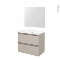 TEIDE Taupe - Ensemble meuble salle de bains - Meuble, plan vasque céramique et miroir - L61xP46,5xH56,8