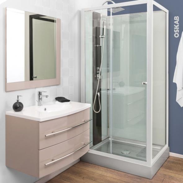Ensemble salle de bains - Meuble MOOREA Taupe - Plan vasque résine - Miroir et éclairage - L80,5 x P52 x H53,5 cm