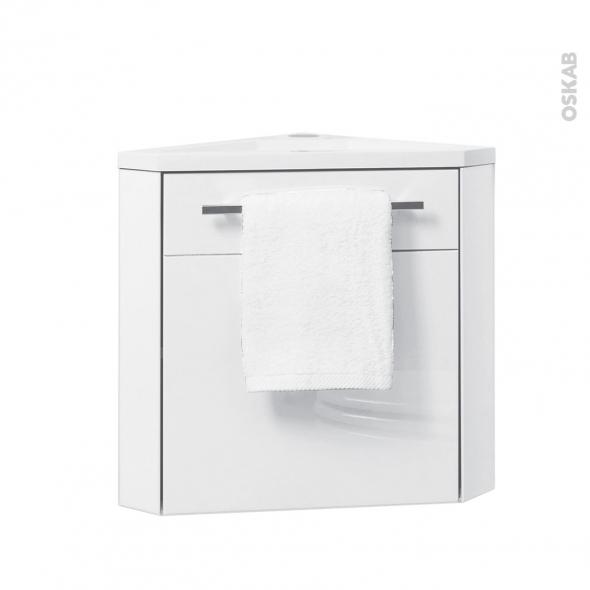 Meuble lave-mains d\'angle FUJI Blanc L44 x P40 x H55,4 cm - Oskab
