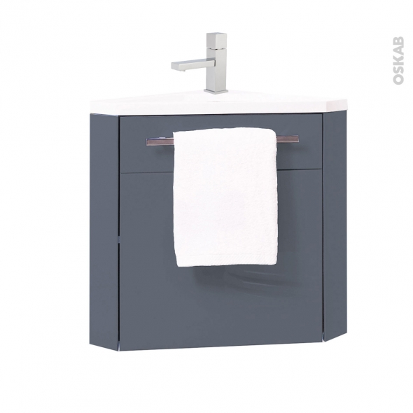 meuble lave mains d 39 angle fuji bleu gris avec robinet l44. Black Bedroom Furniture Sets. Home Design Ideas