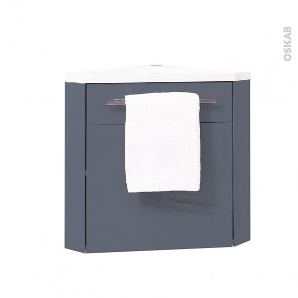 FUJI Bleu gris - Lave-mains d'angle L44xP26xH55,4