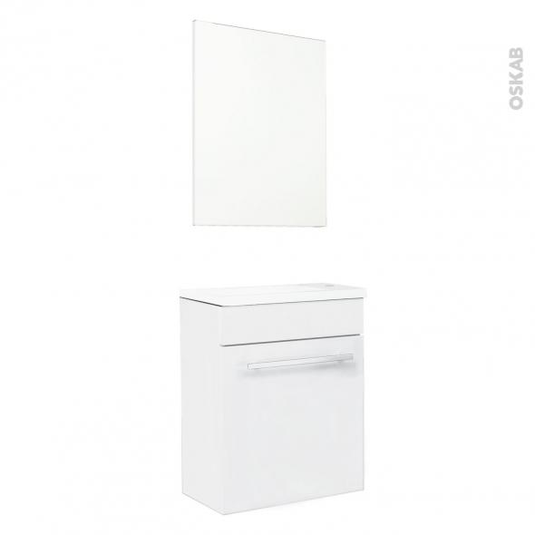 Meuble lave-mains - FUJI Blanc - Avec miroir - L44 x P26 x H55,4 cm
