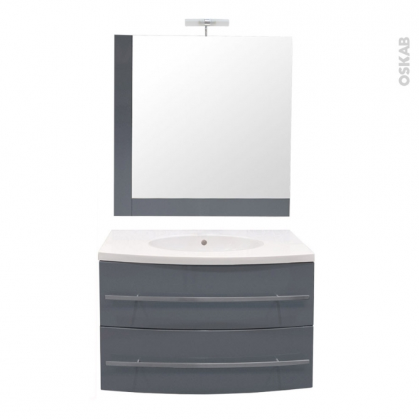 MOOREA Bleu gris - Ensemble meuble salle de bains - Meuble, plan vasque résine, miroir et éclairage - L80,5XP52XH53,5
