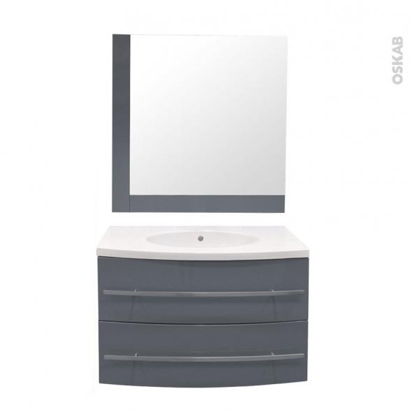 MOOREA Bleu gris - Ensemble meuble salle de bains - Meuble, plan vasque résine et miroir - L80,5XP52XH53,5