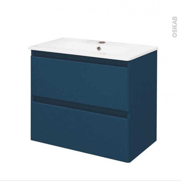 TEIDE Bleu pétrole - Ensemble meuble salle de bains - Meuble et plan vasque céramique - L61xP46,5xH56,8