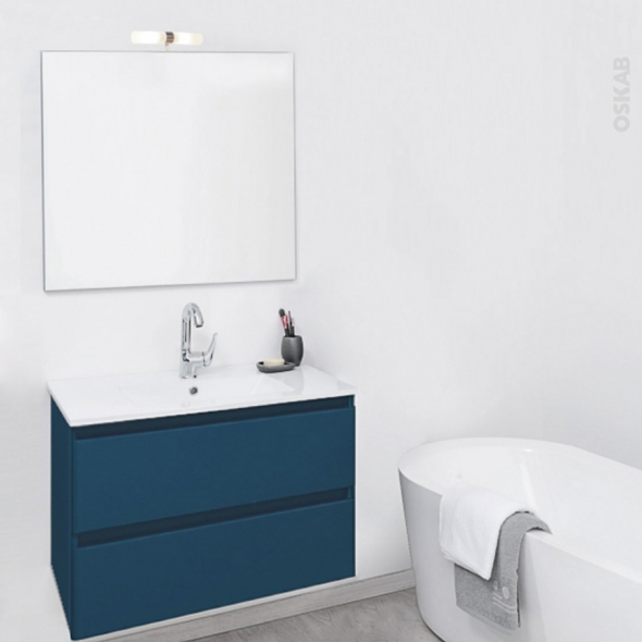 TEIDE Bleu pétrole - Ensemble meuble salle de bains - Meuble, plan vasque céramique, miroir et éclairage - L61xP46,5xH56,8