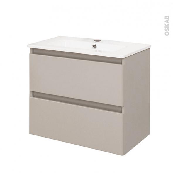 TEIDE Taupe - Ensemble salle de bains - Meuble et plan vasque céramique - L61 x P46,5 x H56,8 cm