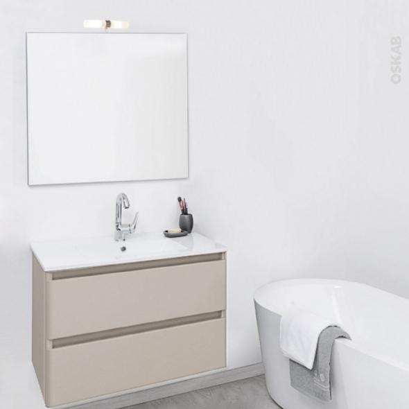 TEIDE Taupe - Ensemble meuble salle de bains - Meuble, plan vasque céramique, miroir et éclairage - L61xP46,5xH56,8