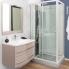 #Ensemble salle de bains - Meuble MOOREA Taupe - Plan vasque résine - Miroir et éclairage - L80,5 x P52 x H53,5 cm