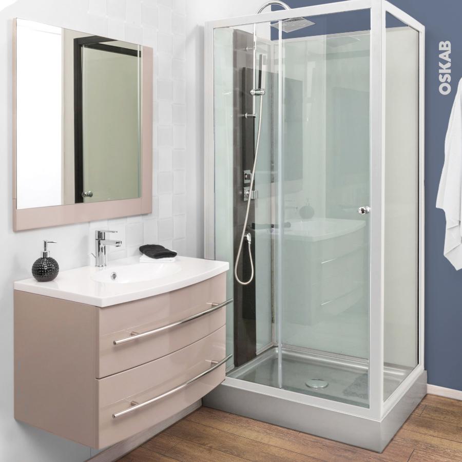 ensemble salle de bains meuble moorea taupe plan vasque rsine miroir et clairage - Salle De Bain Photos