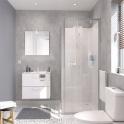 Ensemble salle de bains - Meuble MILO Blanc - Plan vasque céramique - Miroir - éclairage - Robinet Chromé - L61,5 x P46 x H56,5 cm