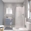 Ensemble salle de bains - Meuble MILO Gris - Plan vasque céramique - Miroir - éclairage - Robinet Chromé - L61,5 x P46 x H56,5 cm