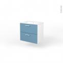 Ensemble salle de bains - Meuble MILO Bleu - Plan vasque céramique - L61,5 x P46 x H56,5 cm