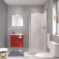 Ensemble salle de bains - Meuble MILO Rouge - Plan vasque céramique - Miroir - éclairage - Robinet Chromé - L61,5 x P46 x H56,5 cm