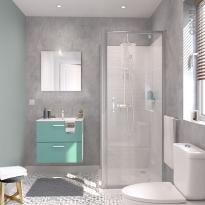 Ensemble salle de bains - Meuble MILO Vert d'eau - Plan vasque céramique - Miroir - éclairage - Robinet Chromé - L61,5 x P46 x H56,5 cm