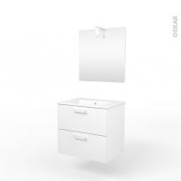 Ensemble salle de bains - Meuble MILO Blanc - Plan vasque céramique - Miroir et éclairage - L61,5 x P46 x H56,5 cm