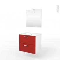 Ensemble salle de bains - Meuble MILO Rouge - Plan vasque céramique - Miroir et éclairage - L61,5 x P46 x H56,5 cm