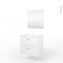 Ensemble salle de bains - Meuble MILO Blanc - Plan vasque céramique - Miroir - L61,5 x P46 x H56,5 cm