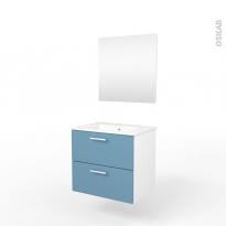Ensemble salle de bains - Meuble MILO Bleu - Plan vasque céramique - Miroir - L61,5 x P46 x H56,5 cm
